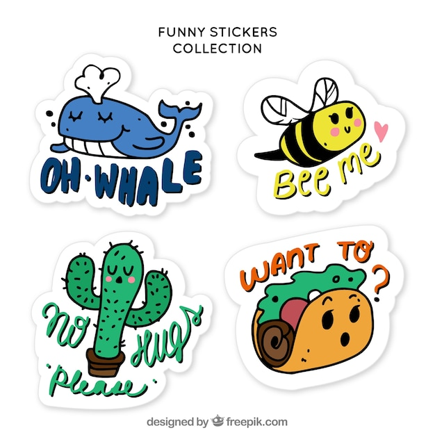 Hand drawn pack of funny stickers free vector