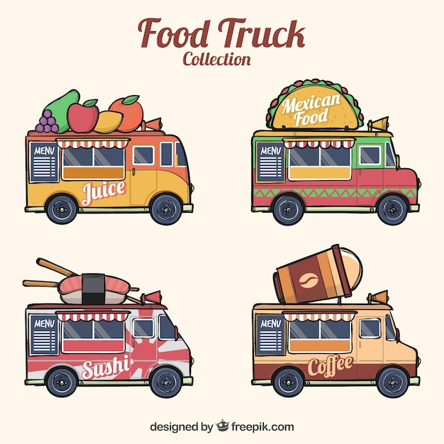 Hand drawn pack of modern food trucks