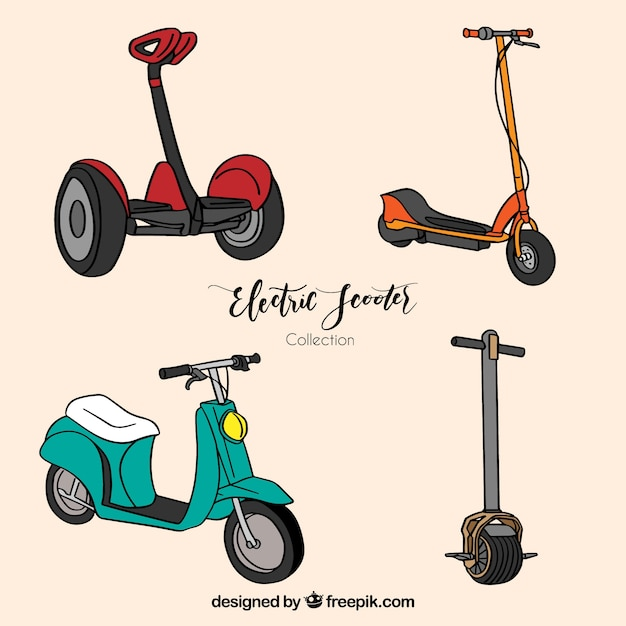 Hand drawn pack of modern scooters