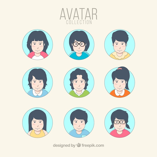 Hand drawn pack of modern women avatars