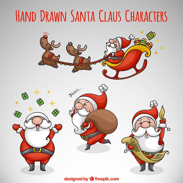 hand drawn pack of santa claus in different activities free vector - Santa Activities
