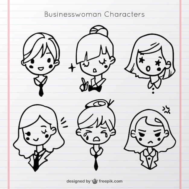 Hand-drawn pack of six businesswoman characters Free Vector
