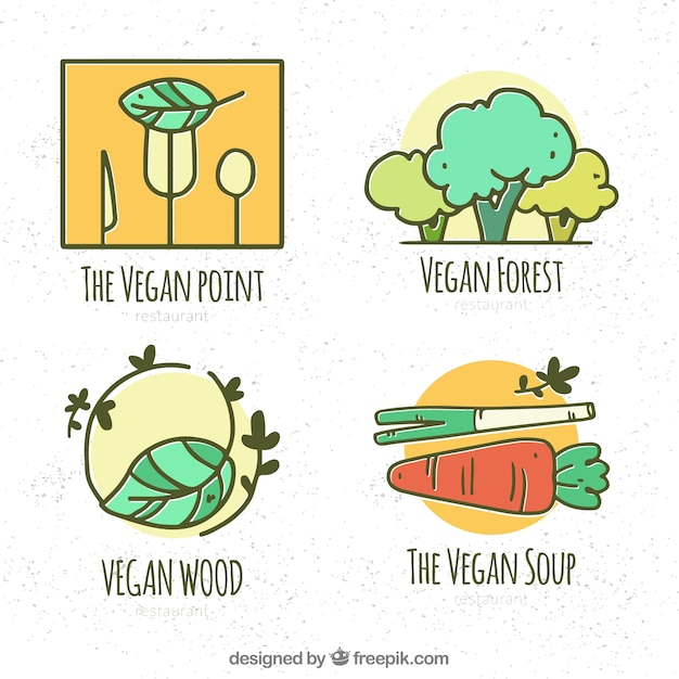 Hand drawn pack of vegan restaurant logos