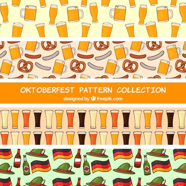 Hand drawn pack of oktoberfest patterns Free Vector