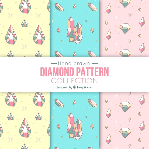Hand-drawn pack of patterns with precious gems in pastel colors Free Vector