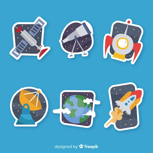 Hand drawn pack of space stickers Free Vector