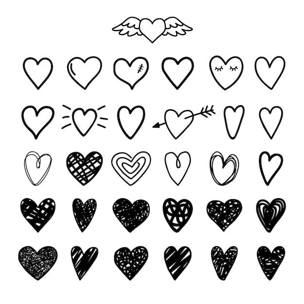 Нарисованные вручную нарисованные сердца Premium векторы