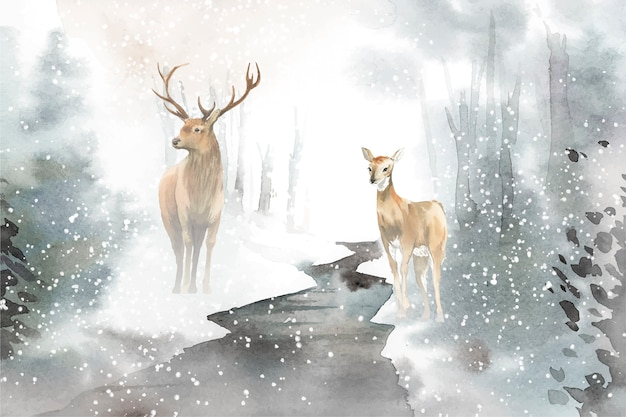 Hand-drawn pair of deer watercolor style vector Free Vector
