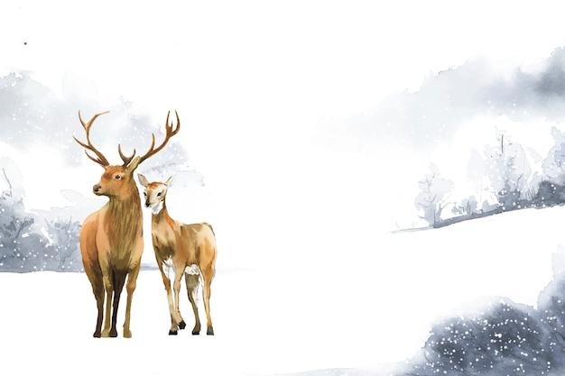 冬の風景で手に描かれた鹿のペア 無料ベクター