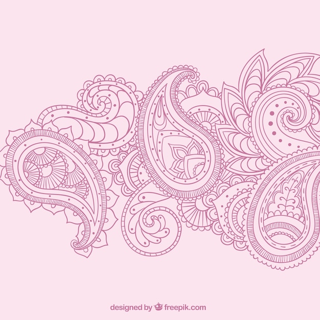 Hand drawn paisley ornaments in pink color Free Vector