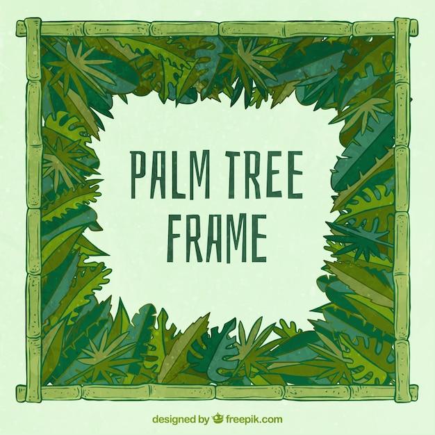 Hand drawn palm leaf frame