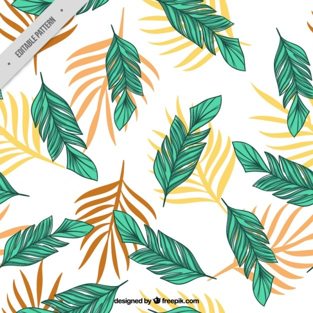 Hand Drawn Palm Leaves Pattern Free Vector