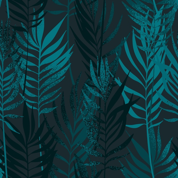 Hand drawn palm leaves with texture seamless pattern. Premium Vector