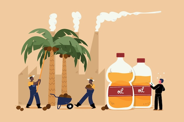 Hand drawn palm oil producing industry concept Free Vector