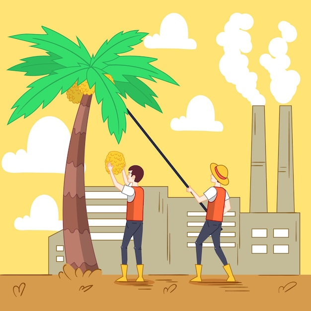 Hand-drawn palm oil producing industry illustration Free Vector