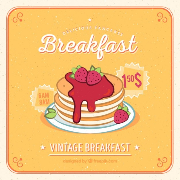 Hand drawn pancakes with strawberries  Free Vector