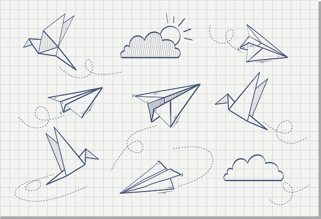 Hand drawn of paper plane with paper bird , vector illustration Premium Vector