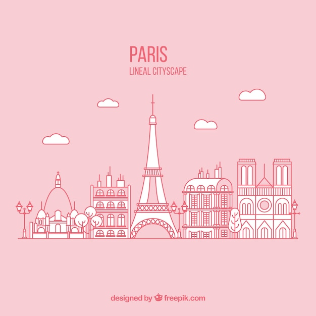 Hand drawn paris background in pink color Free Vector