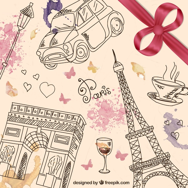 Hand Drawn Paris Background Premium Vector