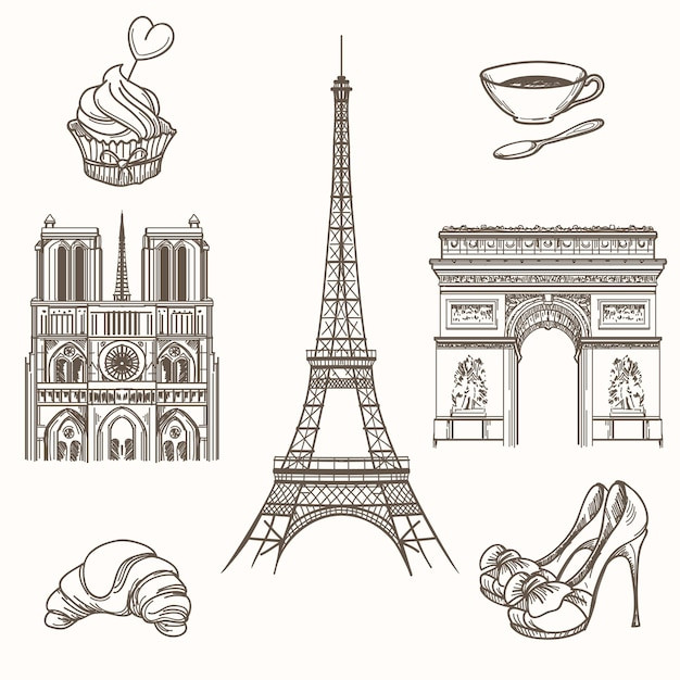Рисованной символы парижа. французский туризм и эйфелева башня, нотр-дам и иконы круассанов. рисованной париж знаки векторные иллюстрации Бесплатные векторы
