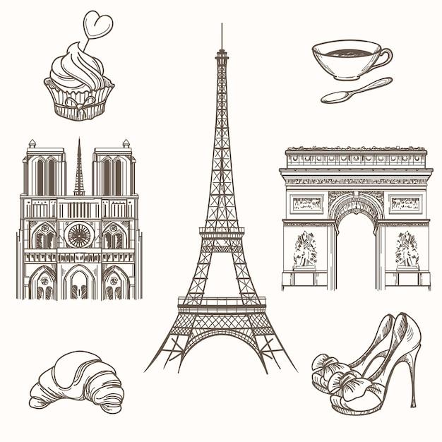 Simboli di parigi disegnati a mano. turismo francese e icone della torre eiffel, notre dame e croissant. illustrazione disegnata a mano di vettore dei segni di parigi Vettore gratuito