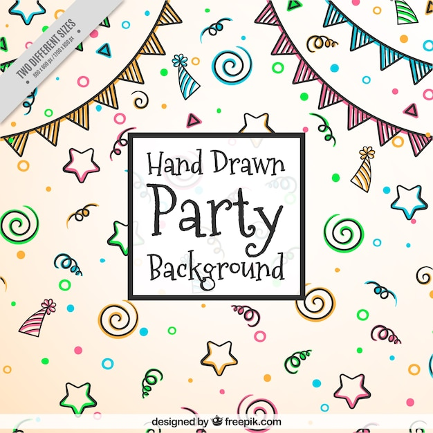 Hand-drawn party background with color items Vector | Free ...
