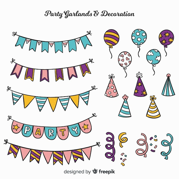 Hand drawn party decoration set Free Vector