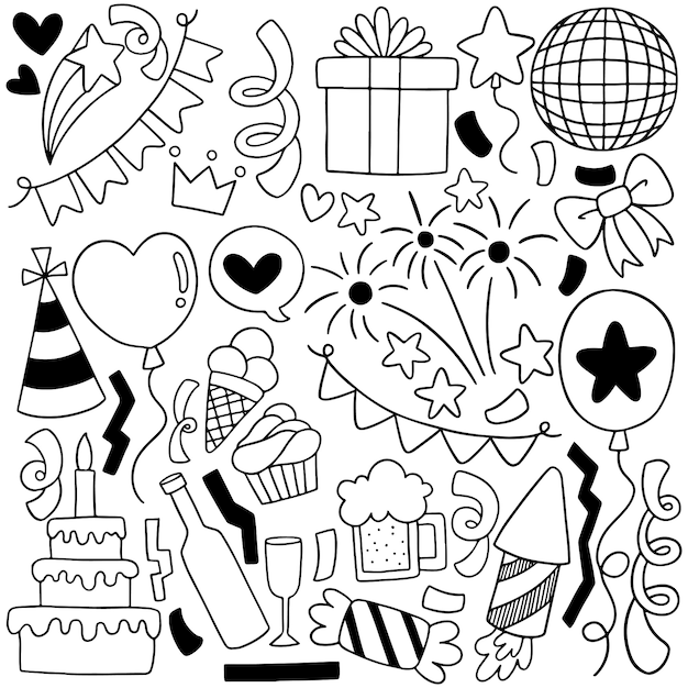 Hand drawn party doodle happy birthday ornaments background pattern illustration Premium Vector