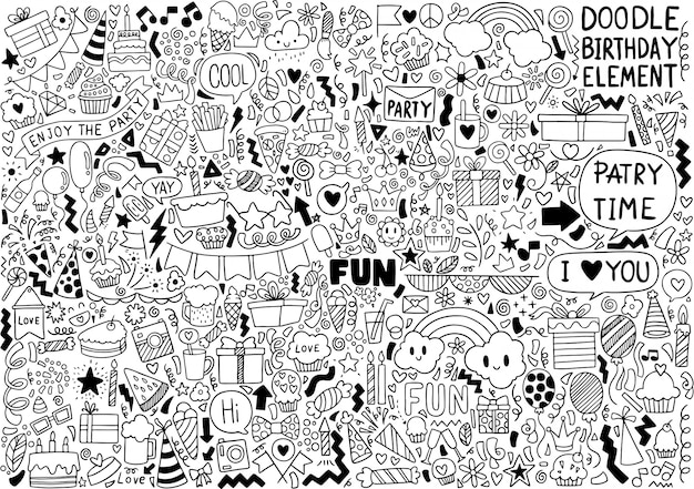 Hand drawn party doodle happy birthday ornaments background pattern Premium Vector