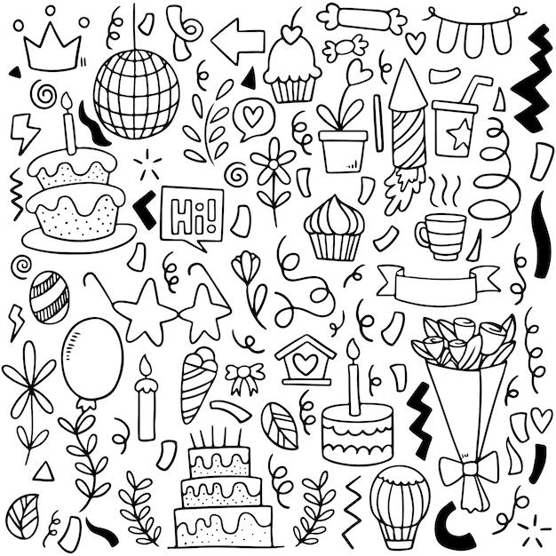 Hand drawn party doodle happy birthday ornaments Premium Vector