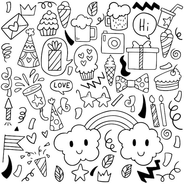 Hand drawn party doodle happy birthday ornaments Premium Vector