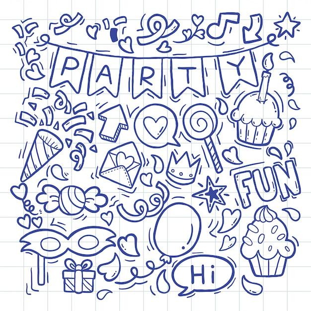 Рисованной партии каракули с днем рождения украшения Premium векторы