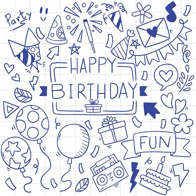 プレミアムベクター 手描きパーティー落書きお誕生日おめでとうパターンイラスト
