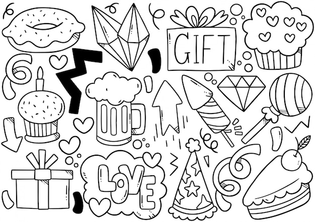 Hand drawn party doodle happy birthday Premium Vector