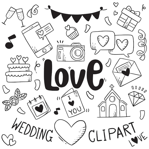 Hand drawn party doodles element wedding element background pattern Premium Vector