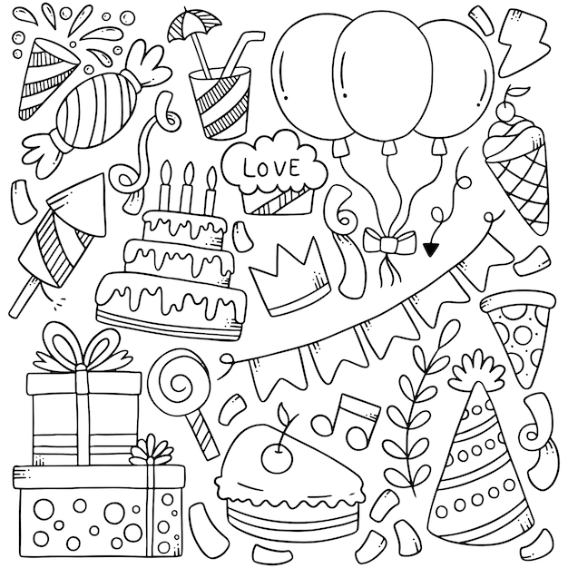 Hand drawn party doodles elements Premium Vector