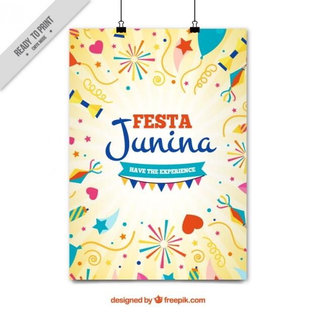 Рисованной партийные элементы феста junina плакат Бесплатные векторы