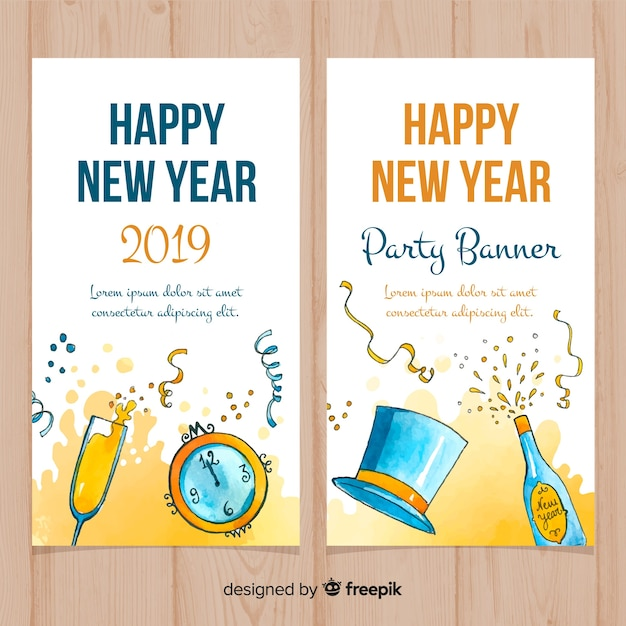 hand drawn party elements new year banner free vector