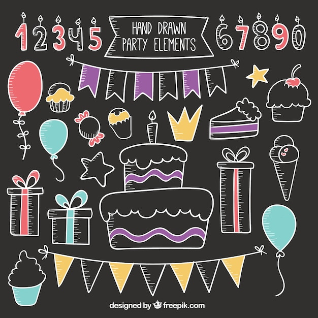 hand drawn party elements on blackboard vector premium download