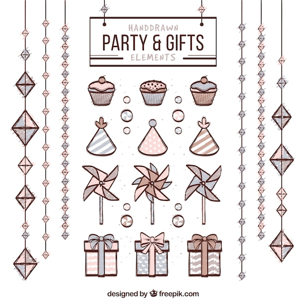 Hand drawn party and gifts elements Free Vector