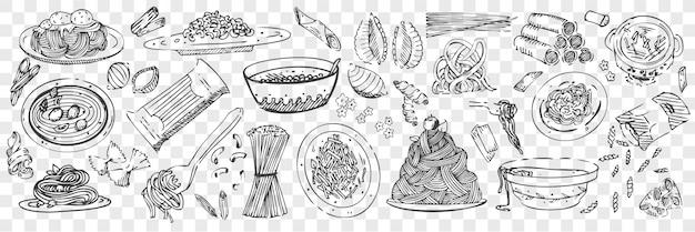 Набор рисованной макароны рисунков Premium векторы