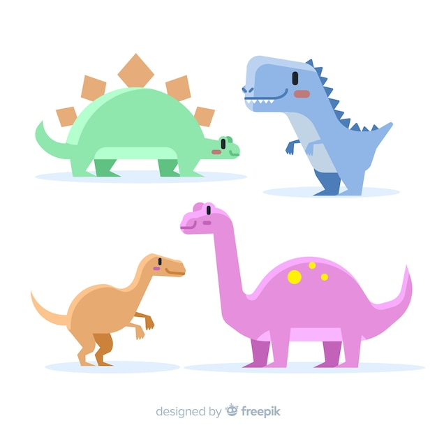 Hand drawn pastel color dinosaur collection Free Vector