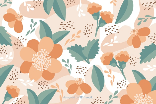 Hand drawn pastel color floral background Free Vector