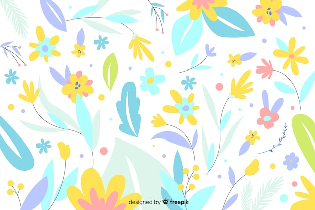 Hand drawn pastel color flowers background Free Vector