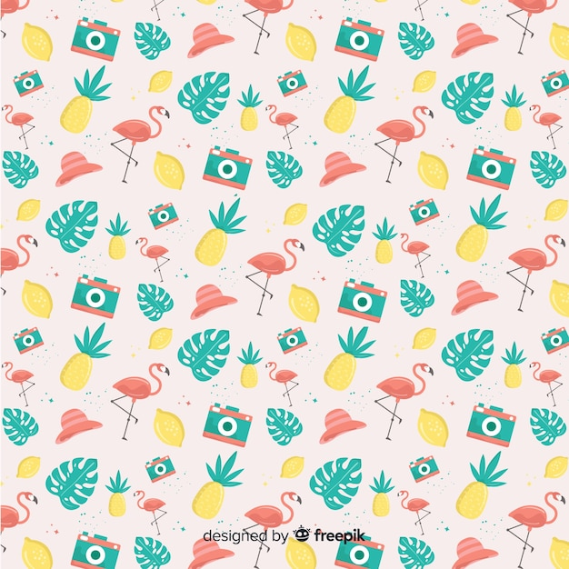 Hand drawn pastel color summer elements pattern Free Vector