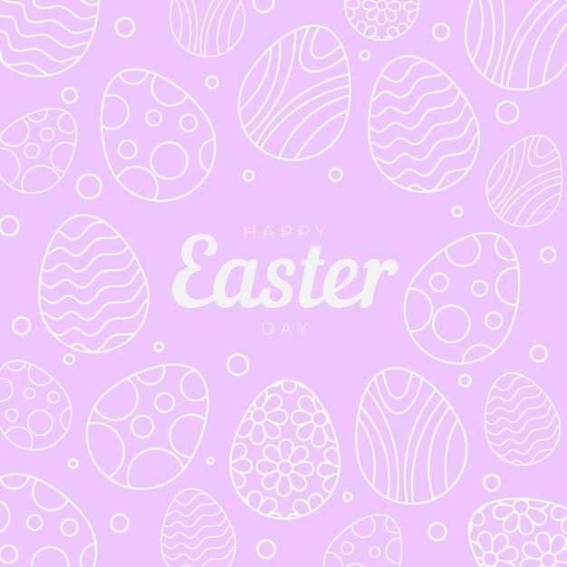卵と手描きパステルモノクロイースターイラスト 無料ベクター