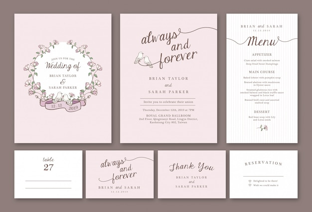 Hand drawn pastel pink floral wedding invitation template package Premium Vector