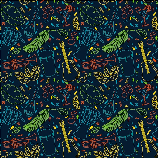 Hand-drawn pattern concept for brazilian carnival Free Vector