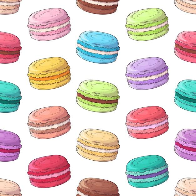 Hand drawn pattern french dessert macaroons Premium Vector