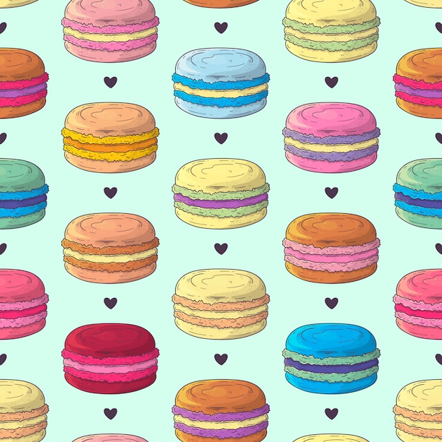 Hand drawn pattern french dessert macaroons Premium Vector